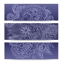 Banners with doddle pattern vector image