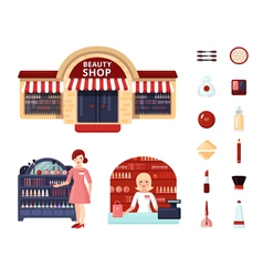 Beauty store icon set vector