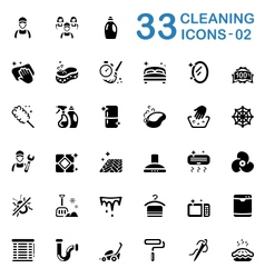 Black cleaning service icons vector