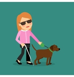 Blind woman with a guide dog vector