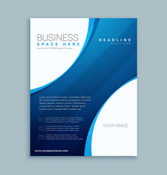 Blue brochure template with curve lines vector