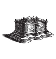 Casket is adorned vintage engraving vector
