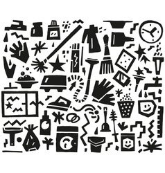 cleaning tools doodles vector image vector image