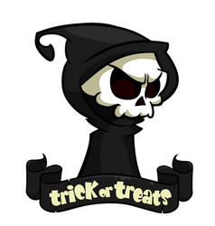 cute cartoon grim reaper with scythe isolated vector image