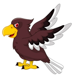 Cute eagle cartoon flying vector