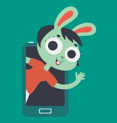 Cute lover bunny girl showing on screen phone vector