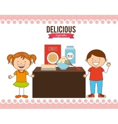 Delicious cupcake vector