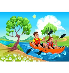 Father and daughter on the kayak in the river vector image