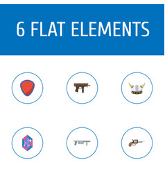 Flat icons gem revolver viking helmet and other vector