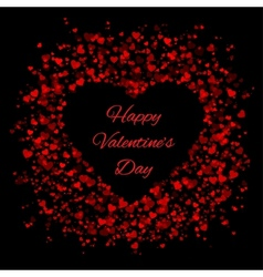Frame of red hearts on black background vector image