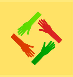 Hands teamwork connecting concept vector