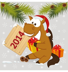 Horse symbol of 2014 year vector
