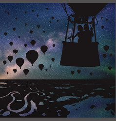 lovers in balloon at night vector image vector image