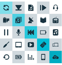 Multimedia icons set collection of palmtop vector