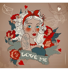 Old-school styled tattoo woman with flowers vector image vector image