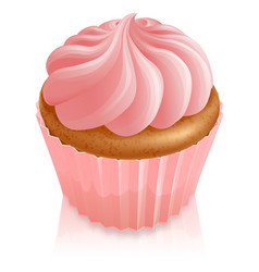 pink fairy cake cupcake vector image