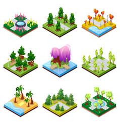 public park landscapes isometric 3d set vector image