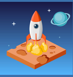 Rocket launch in space isometric vector