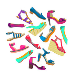 Round composition with summer shoes vector