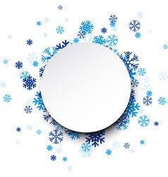 Round paper card over blue snowflakes vector
