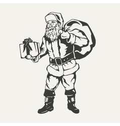Santa Claus Black and white style vector image vector image