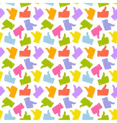 Seamless pattern colorful thumb up icon vector
