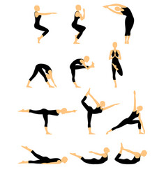 Set of twelve abstract female yoga figures vector