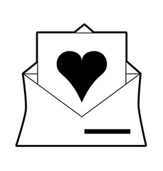 Sketch silhouette image envelope mail with heart vector