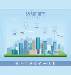 Smart city urban landscape with infographic vector