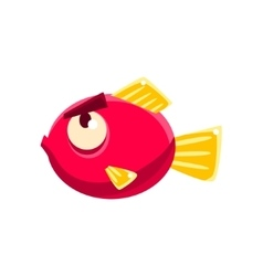 Stubborn red fantastic aquarium tropical fish with vector