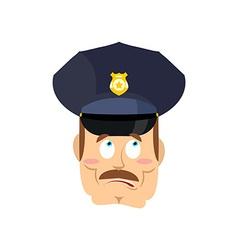 Surprised policeman perplexed cop astonished vector