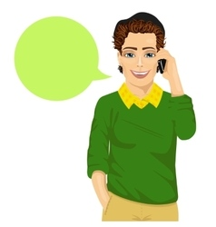young happy hipster man talking on smartphone vector image vector image