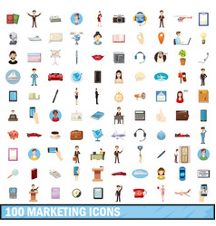 100 marketing icons set cartoon style vector