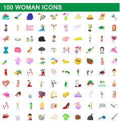 100 woman icons set cartoon style vector