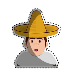 Sticker half body man mexican with hat vector