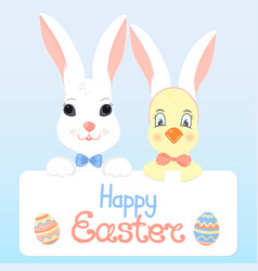 Bunny and a chick with rabbit ears happy easter vector