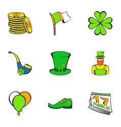 leprechaun icons set cartoon style vector image