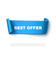 Blue curved paper ribbon banner with rolls vector
