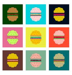 Set pixel icons hamburger vector
