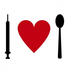 syringe heart spoon vector image