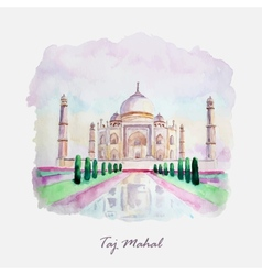 Watercolor taj mahal picture india culture vector