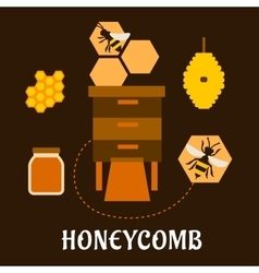 Beekeeping flat infographic with bees and beehives vector