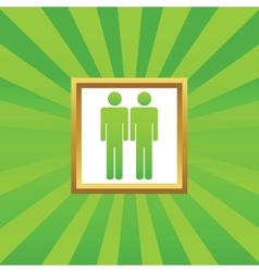 Two men picture icon vector