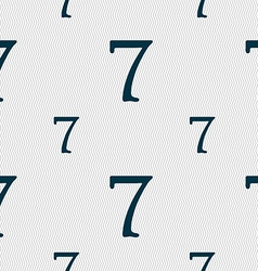 Number seven icon sign seamless pattern with vector