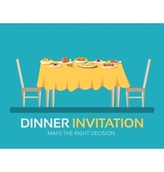 Vintage dinner table with many food in flat design vector