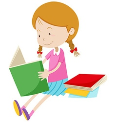 Little girl reading books vector image
