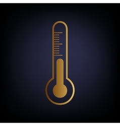 Thermometer sign golden style icon vector