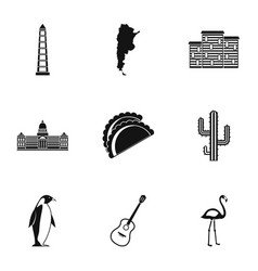 Argentina travel icons set simple style vector