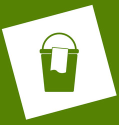 Bucket and a rag sign white icon obtained vector
