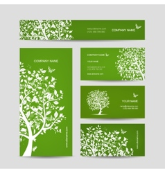 Business cards design spring tree with birds vector image vector image